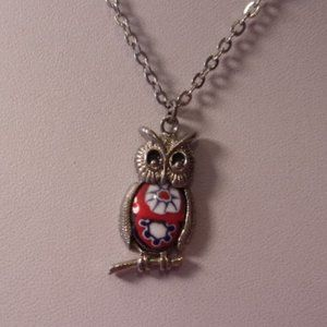Vintage Silver Owl Art Glass Pendant Necklace 15""